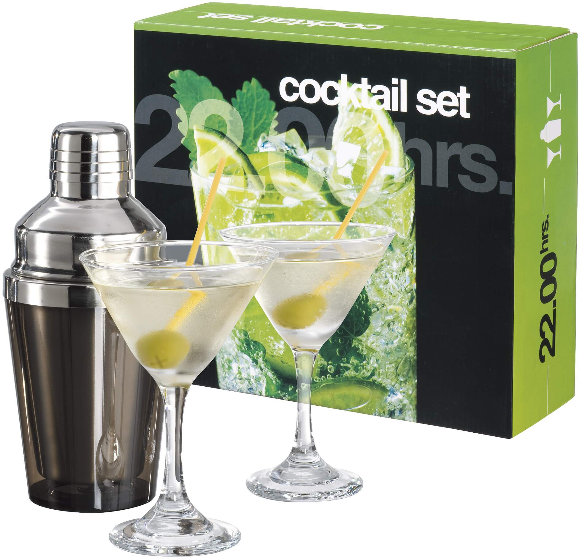 Set Cocktail in Acciao Inox con bicchieri mod. PEF 900